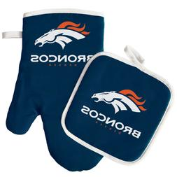 NFL Denver Broncos Logo Oven Mitt & Pot Holder, One Size, Bl