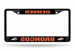 Rico Black Chrome Metal License Plate Frame Denver Broncos N