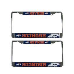 Brand New 2pc Set NFL Denver Broncos Car Truck Metal License