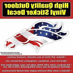 Denver Broncos Head American Flag Vinyl Car Window Laptop Bu