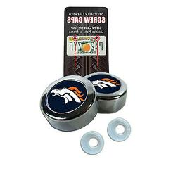 Chrome Football Denver Broncos License Plate frame screw cap