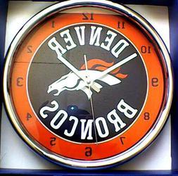 chrome round wall clocks football denver broncos