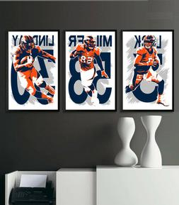 DENVER BRONCOS art print/poster FAN PACK #1 3 PRINTS! DREW L