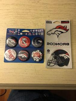 Denver Broncos Buttons/pins And Stickers/Decals Lot Fun Pack