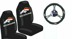 Denver Broncos Car Truck 2 Front Seat Covers & Steering Whee