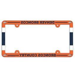 DENVER BRONCOS COLOR CAR AUTO PLASTIC LICENSE PLATE TAG FRAM