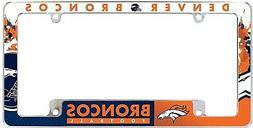 Denver Broncos EZ View All Over Chrome Frame Metal License P