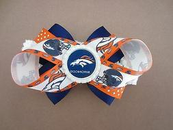 Denver Broncos Hair Bow With or W/O Headband Baby Toddler NF