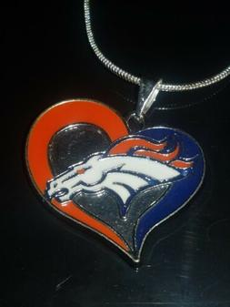 Denver Broncos Heart Pendant Necklace Sterling Silver Chain