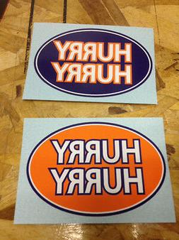 Denver Broncos HURRY HURRY oval sticker decals - 2 for 1