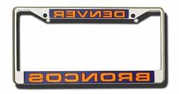 Denver Broncos LASER FRAME Chrome Metal License Plate Cover