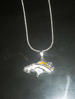 Denver Broncos Logo Necklace Pendant Sterling Silver Chain N