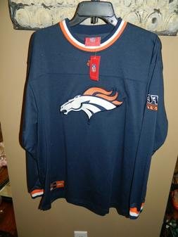 NFL Denver Broncos Mens Long-Sleeve Heavy Shirt Blue Sewn on