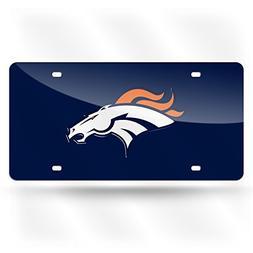 Denver Broncos Navy Blue Mirrored License Plate