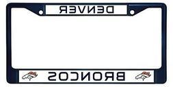 Denver Broncos NAVY Metal Frame Chrome License Plate Tag Cov