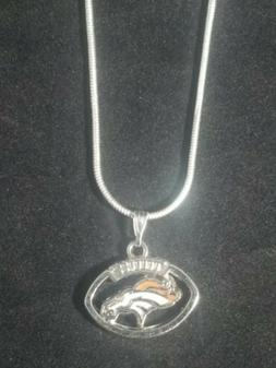 Denver Broncos Necklace Pendant Sterling Silver Chain NFL Fo