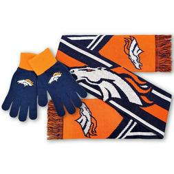 Denver Broncos NFL Gift Apparel Set Knit Scarf Gloves Team L