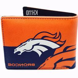 Denver Broncos NFL Men's Printed Logo Leather Bi-Fold Wallet