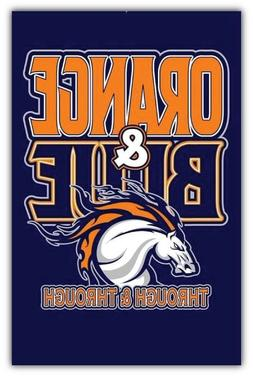 Denver Broncos NFL Orange And Blue Car Bumper Sticker Decal
