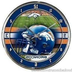 Denver Broncos NFL Round Chrome Wall Clock