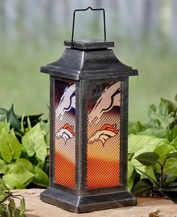 Denver Broncos NFL Solar Lantern Light Football Porch Patio