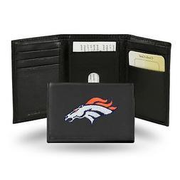 Denver Broncos NFL Team Logo Embroidered Leather TRIFOLD Wal