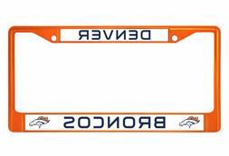 Denver Broncos Orange Metal Chrome License Plate Frame  Cove
