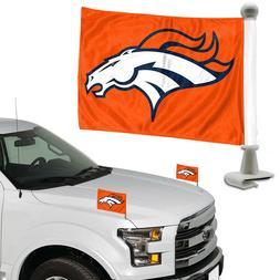 Denver Broncos Set of 2 Ambassador Style Car Flags - Trunk,