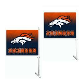 Denver Broncos Set of 2 Ombre Car Flags