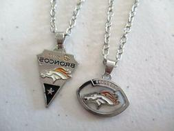 Denver Broncos Silver Tone NFL Football Sports Pendant Neckl
