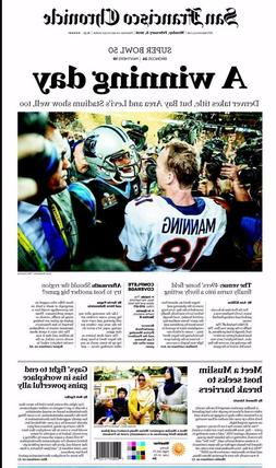 DENVER BRONCOS SUPER BOWL 50 2016 CHAMPIONS SF CHRONICLE NEW