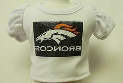 """Denver Broncos Theme Silver Glitter Transfer T-Shirt For 16"""""""