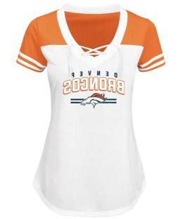 Denver Broncos NFL Women's Lace-up V-Neck Short Sleeve Jerse