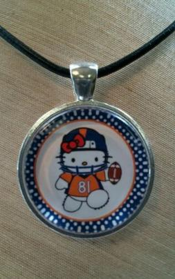 * HELLO KITTY NFL DENVER BRONCOS * Glass Pendant with Leathe