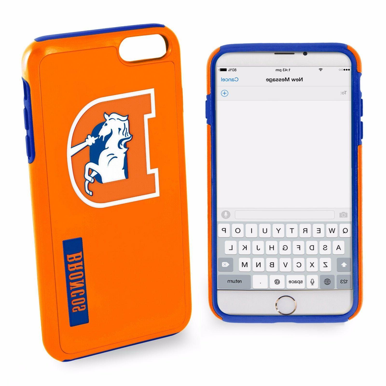 For iPhone 7 Denver Broncos Retro Logo Dual Hybrid 2 Piece P