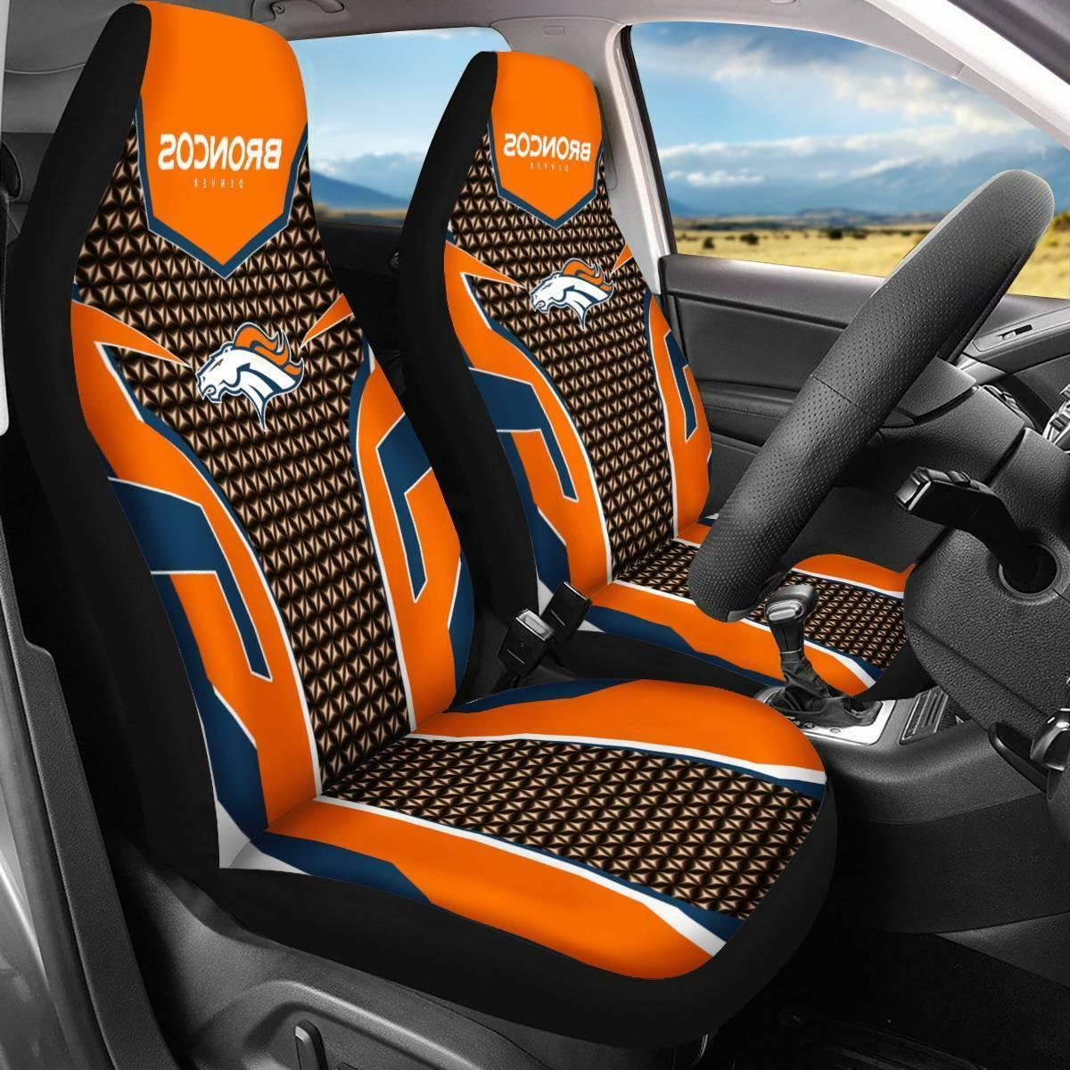 Denver Broncos 2PCS Car Seat Covers Universal Fit Auto Truck