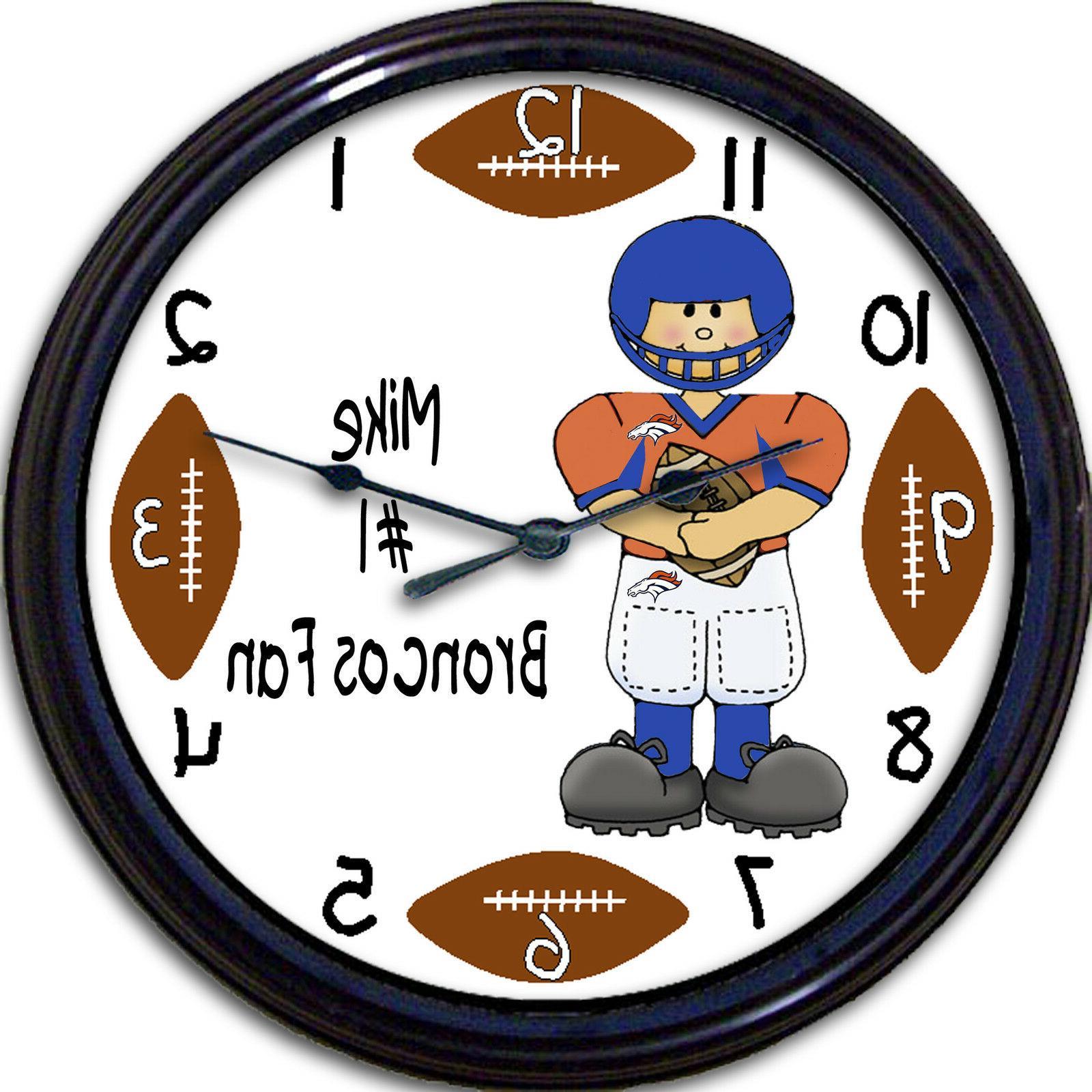 denver broncos personalized wall clock nfl football