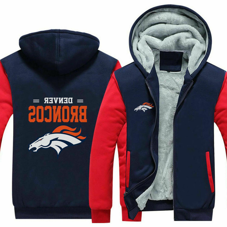 New Denver Broncos Fans Hoodie Fleece zip up Coat winter Sweatshirt