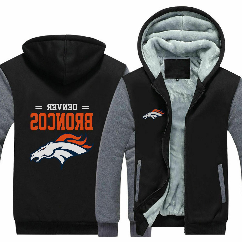 New Denver Hoodie Fleece zip up Coat warm Sweatshirt