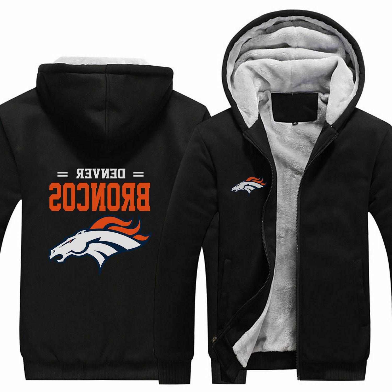 new denver broncos fans hoodie fleece zip