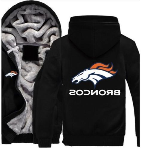 Winter Thicken Hoodie Team Denver Broncos Warm Sweatshirt La