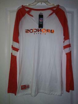 New Denver Broncos Majestic NFL Women's White Orange Long Sl