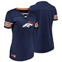 New Women's Majestic NFL Blue Denver Broncos Lace-Up V-Neck
