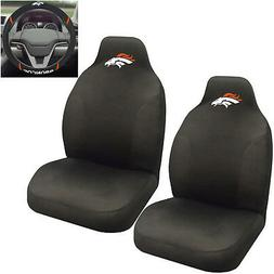 NFL Denver Broncos Car Truck 2 Front Seat Covers & Steering