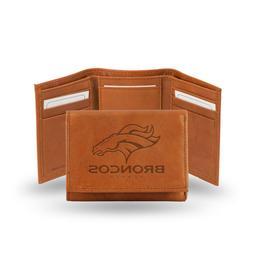 """NFL Denver Broncos Embossed Leather Trifold Wallet, 5""""x 3"""","""