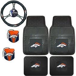 NFL Denver Broncos Floor Mats Steering Wheel Cover & Air Fre