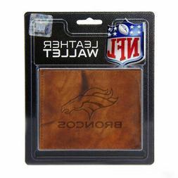 NFL Denver Broncos Leather Billfold Wallet in Brown