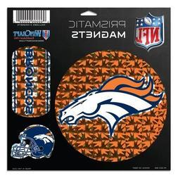 """NFL Denver Broncos Prismatic Magnets Sheet, 11""""x11"""", Team Co"""
