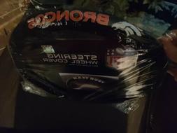 NFL Denver Broncos Steering Wheel Cover Poly Suede & Mesh Fr