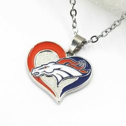 "NFL ""DENVER BRONCOS Team Sports Alloy Pendant Heart necklace"